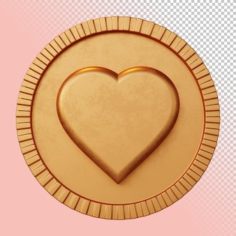 Valentin amour coeur symbole rendu 3d insigne circulaire audacieux maquette isolée