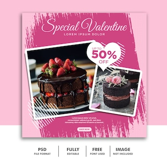 Valentine banner social media instagram, cake food special pink brush