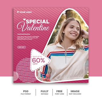 Valentine banner social media instagram, fashion young woman pink