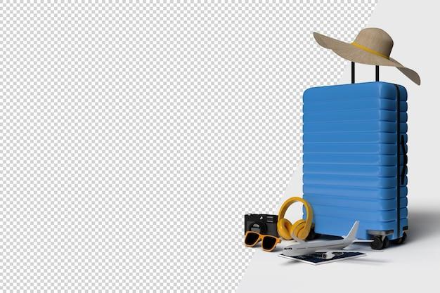 Valise avec accessoires d'avion et de voyage, articles de vacances essentiels. voyage de vacances d'aventure et de voyage. modèle de maquette de bannière de conception de concept de voyage. rendu 3d
