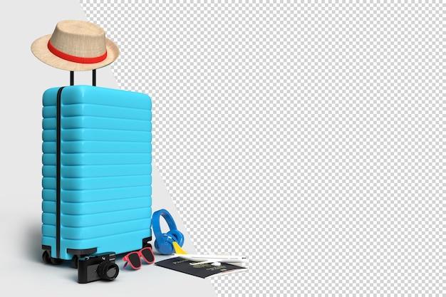 Valise avec accessoires de voyage, articles de vacances essentiels. voyage de vacances d'aventure et de voyage. modèle de maquette de bannière de conception de concept de voyage. rendu 3d