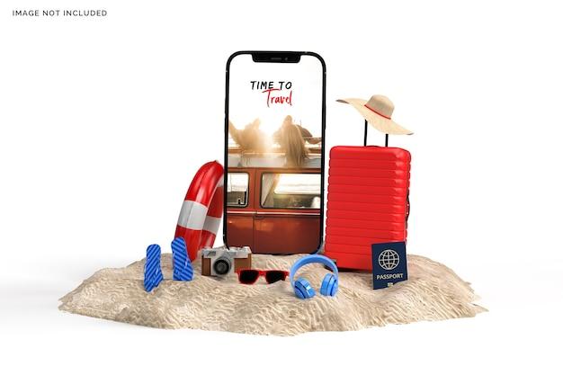 Valise avec accessoires de voyageur, rendu des articles de vacances essentiels