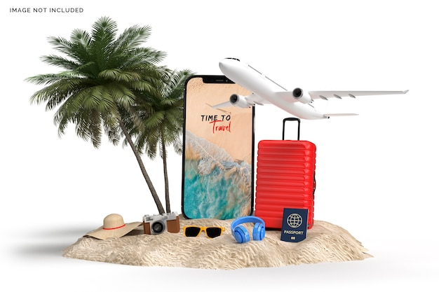 Valise avec avion, rendu d'accessoires de voyageur