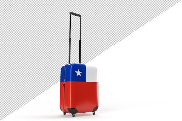 Valise de voyage avec le drapeau du chili. notion de voyage. isolé. rendu 3d