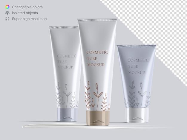 Variété de maquette d'emballage de tubes de crème cosmétique vue de face brillante réaliste
