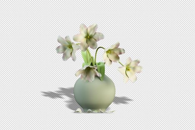 Vase avec des fleurs en rendu 3d isolé