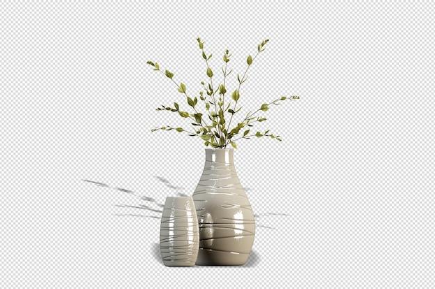 Vase de fleurs en rendu 3d