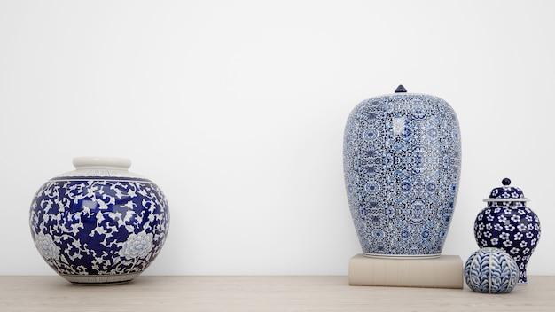 Vases classiques pour décoration intérieure et mur blanc