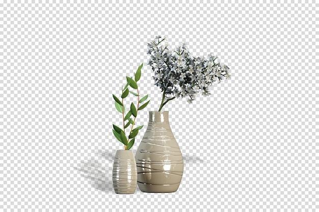 Vases de fleurs séchées en rendu 3d