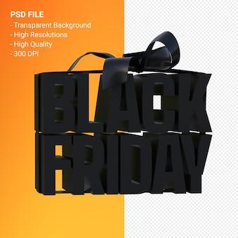 Vendredi noir dans une boîte cadeau enveloppée de ruban noir isolé