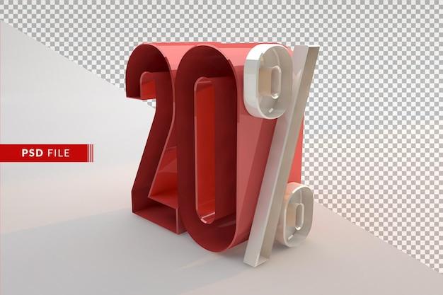 Vente 20 pour cent de réduction sur le concept isolé 3d promotionnel