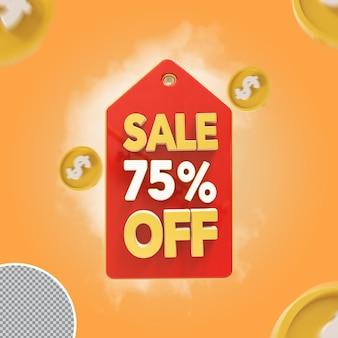 Vente 3d 75 pour cent d'offre