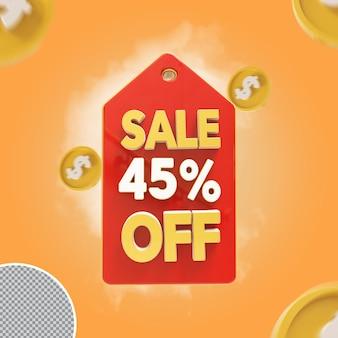 Vente 3d offre de 45 pour cent