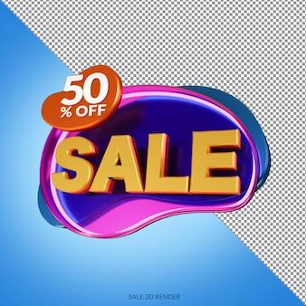 Vente de 50 pour cent de réduction sur le rendu 3d de la maquette