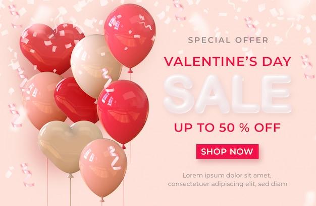 Vente de bannière réaliste bonne saint valentin avec des ballons et des coeurs de rendu 3d