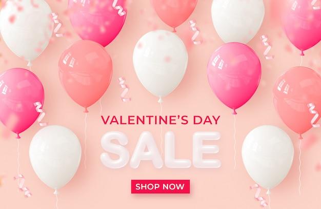 Vente de bannière réaliste bonne saint valentin avec des ballons de rendu 3d