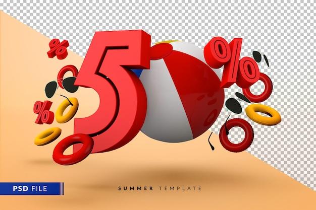 Vente d'été 50 pour cent de réduction promotionnelle avec des accessoires de plage isolés