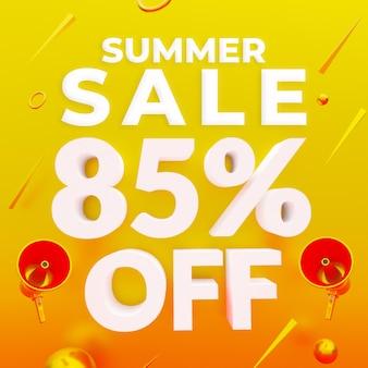Vente d'été 85 pour cent de réduction sur la bannière web de promotion