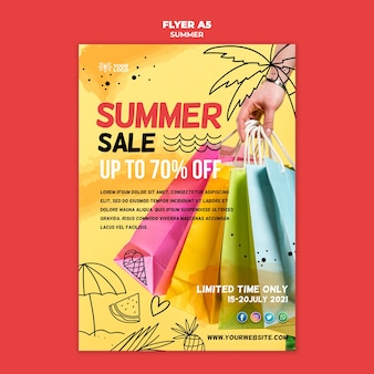 Vente d'été avec affiche de sacs à provisions