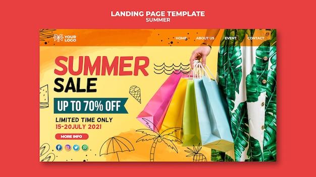 Vente d'été avec page de destination pour les sacs à provisions