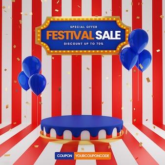 Vente festival avec ballon et confetti