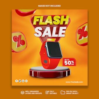 Vente flash de concept créatif promotion des achats en ligne sur la publication des médias sociaux