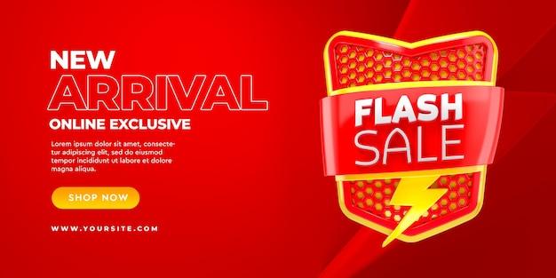 Vente flash modèle de bannière 3d nouvelle arrivée