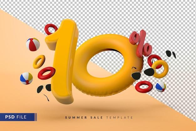 Vente jaune 10 pour cent de réduction sur les accessoires d'été promotionnels rendu 3d