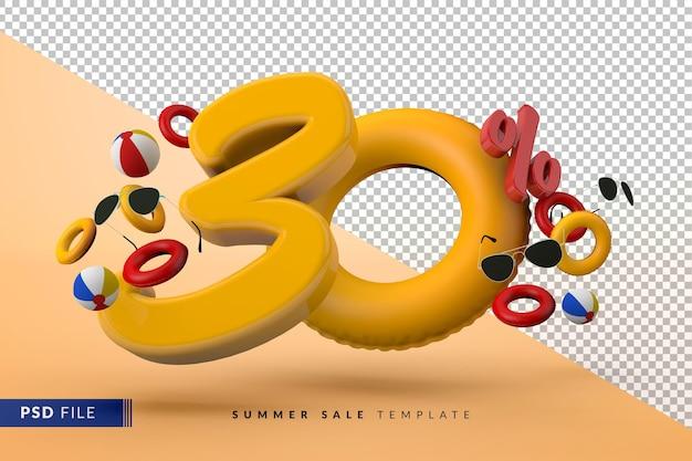 Vente jaune 30 pour cent de réduction sur les accessoires d'été promotionnels rendu 3d