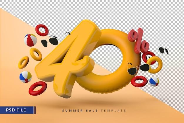 Vente jaune 40 pour cent de réduction sur les accessoires d'été promotionnels rendu 3d