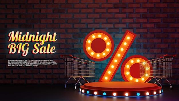 Vente de minuit avec pourcentage réaliste et podium icne shopping
