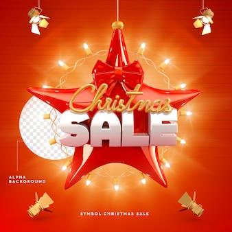Vente de noël logo 3d en forme d'étoile, rouge et or
