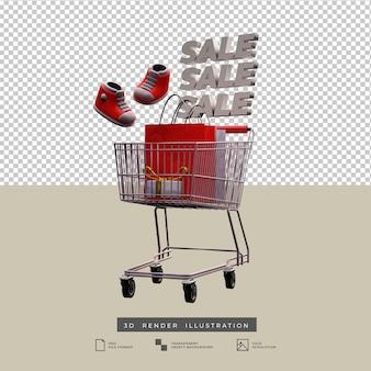 Vente panier thème de noël avec des chaussures et boîte-cadeau or arc illustration 3d isolée