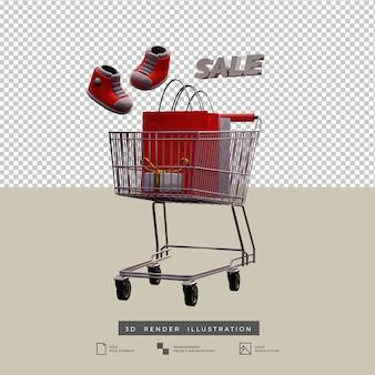 Vente panier thème de noël avec des chaussures et une boîte-cadeau en or, illustration 3d