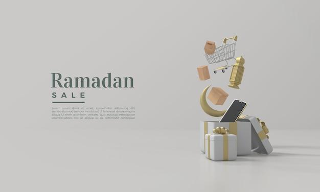Vente de ramadan avec boîte-cadeau de rendu 3d ouvert