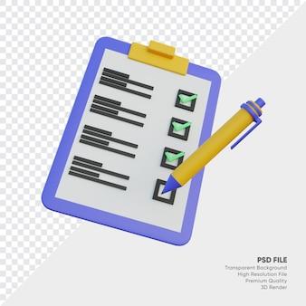 Vérifiez le clipboard avec l'illustration 3d du stylo