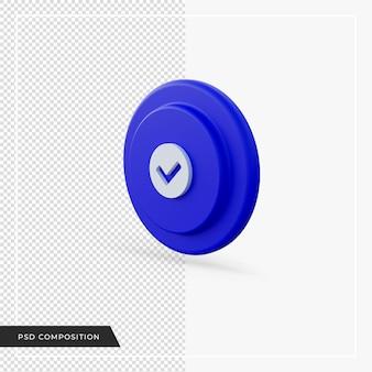 Vérifiez l'icône bleue dans le rendu 3d