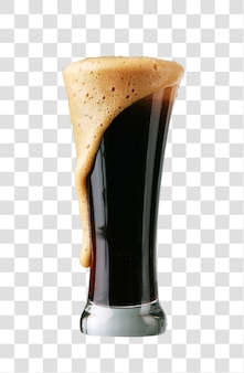 Verre de bière brune avec mousse, fichier psd en couches