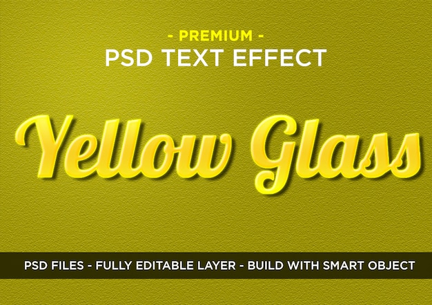 Verre jaune premium photoshop psd styles effet texte