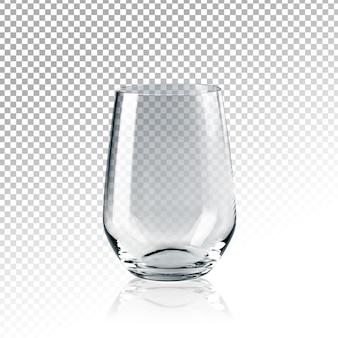 Verre vide transparent réaliste d'eau isolé