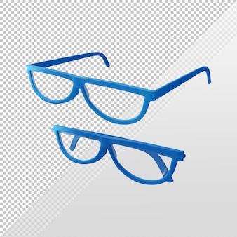 Verres bleus de rendu 3d ouverts et pliés depuis la vue en perspective