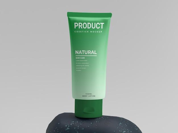 Vert cosmétique frais naturel sur la maquette d'affichage de produit de pack de beauté en pierre