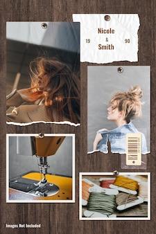 Vêtements ou tout mood board de marque sur la base en bois