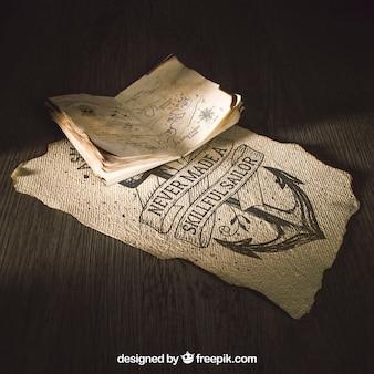 Vieille maquette de papier avec le concept de voile