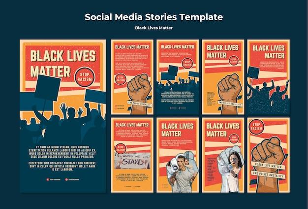 Les vies noires ne comptent pas d'histoires racistes sur instagram