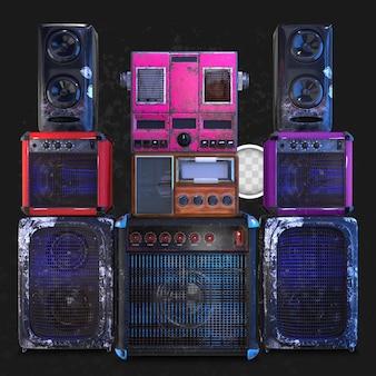 Vieux fond d'objets musicaux. rendu 3d