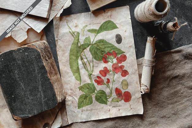 Vieux papier dans la maquette de scène vintage