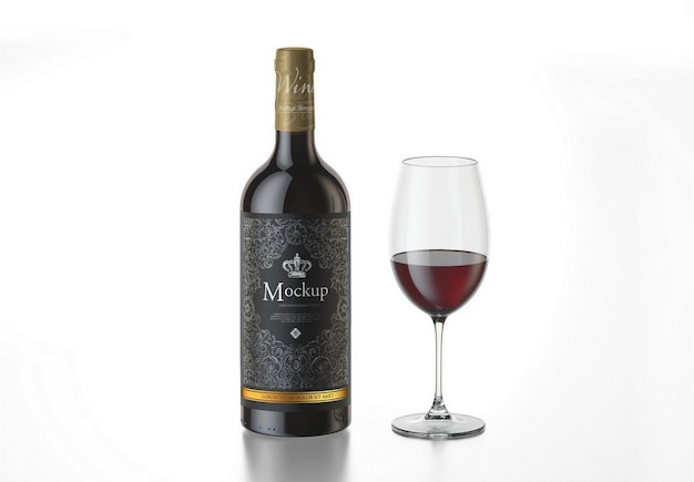 Vin rouge avec maquette de bouteille en verre