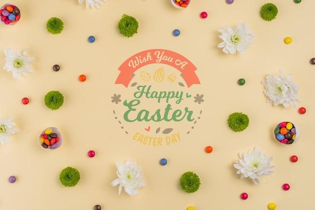 Vintage maquette de jour de pâques avec des fleurs