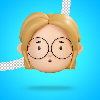 Visage avec bouche ouverte pour emoji étonné de personnage de fille avec des lunettes de rendu 3d
